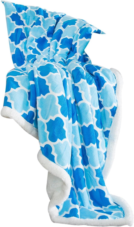Lavish Home 61-00004-DBLB Fleece Sherpa Blanket Throw-Dark Light Blue