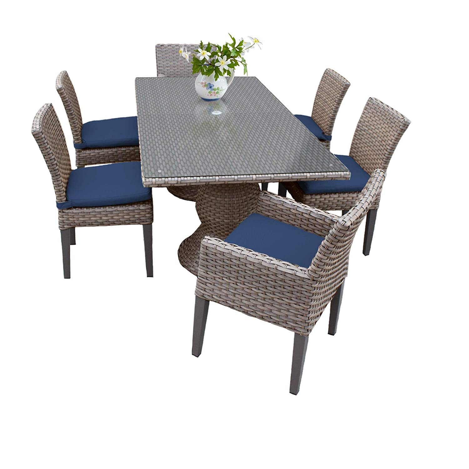 Amazon com tk classics oasis rectangular outdoor patio dining table with 4 armless chairs and 2 arm chairs navy garden outdoor