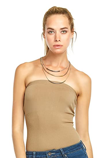25a0eea527 Sofra Women s Seamless Plain Colored Tube Top (Beige) at Amazon ...