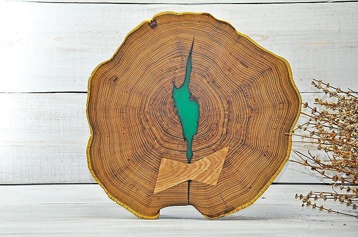 38cm rondin de bois en acacia avec résine époxy vert tranche de bois