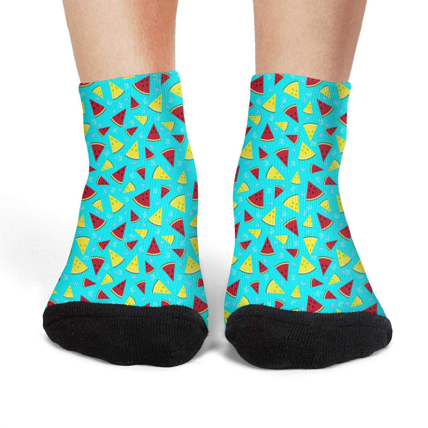 Mens athletic low cut Ankle sock Cute Watermelon Summer Time Blue Short Fit Sock