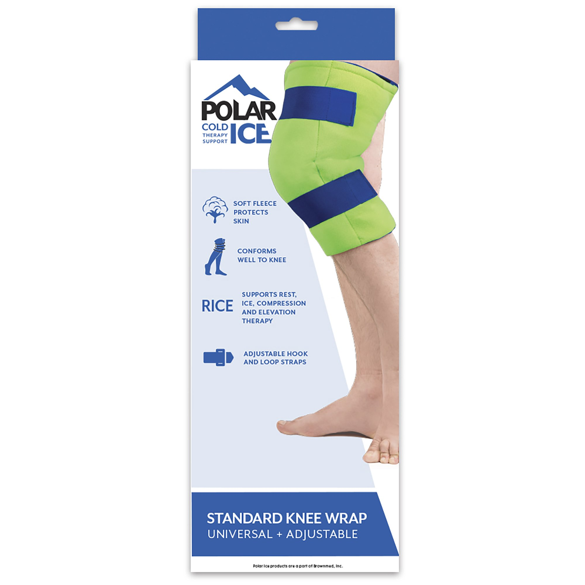 Polar Ice Large Knee Wrap Cold Therapy Wearable Ice Pack Adjustable Hook and Loop Closure (Color May Vary) by Brownmed (Image #5)