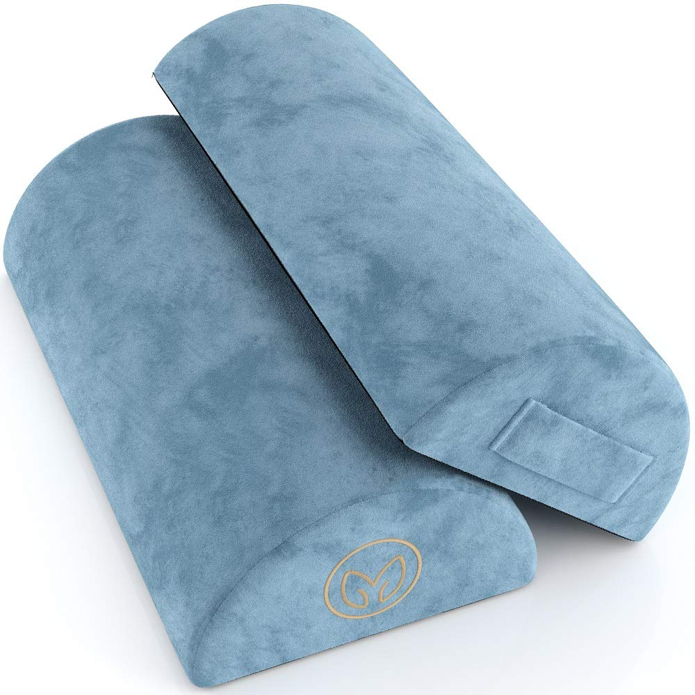 Foot Rest Cushion Under Desk - Pack of Two - Doubles As Back and Knee Support - Half-Moon Ergonomic Memory Foam Footrest Bolster Pillows by RelaxMaven