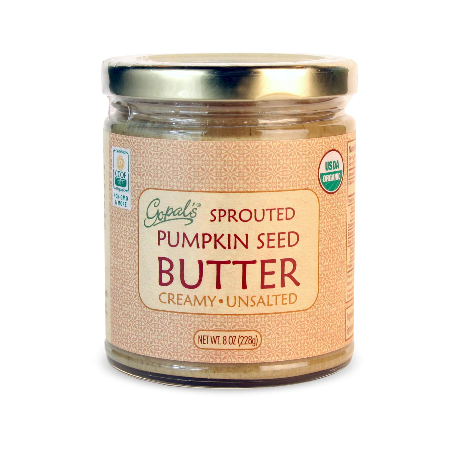 Gopal's Sprouted Organic Raw Pumpkin Seed Butter, 100% Gluten-Free (Unsalted) 8 Ounces | Keto, Paleo and Whole 30-Friendly