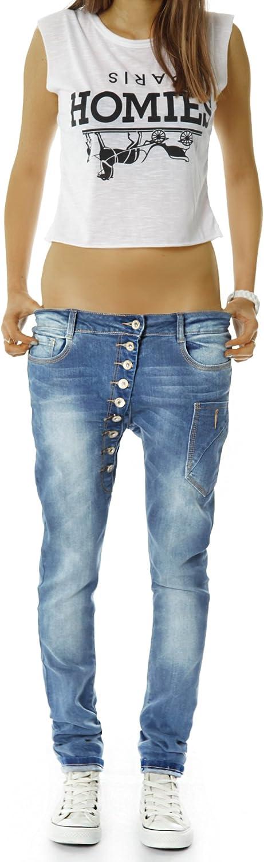 Jean Baggy j02kw BestyledBerlin Pantalon en Jean pour Femmes