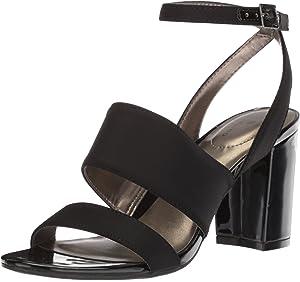2935e7889cb Amazon.com  Calvin Klein Women s Caran Heeled Sandal Black White ...