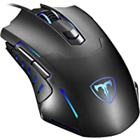 Gaming Mouse Wired, Pictek 6 Buttons Ergonomic Optical USB Mouse PC Computer Gaming Mice [3200 DPI Adjustable] [Auto Breathing Light] for Windows 7/8 / 10 / XP Vista Mac MacBook Linux, Black