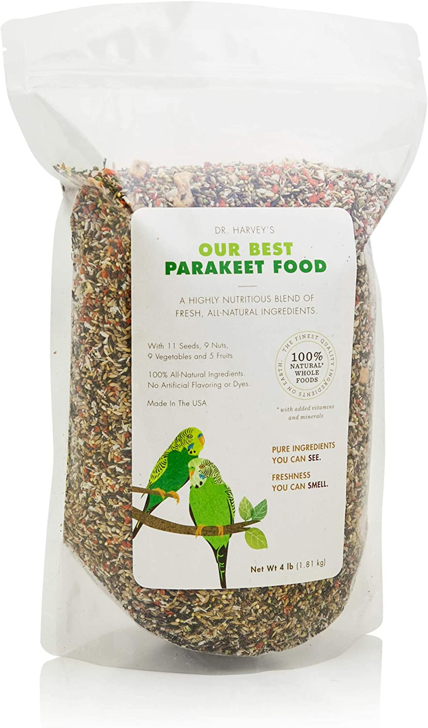 Dr. Harvey's Our Best Parakeet Food, All Natural Daily Blend for Budgies