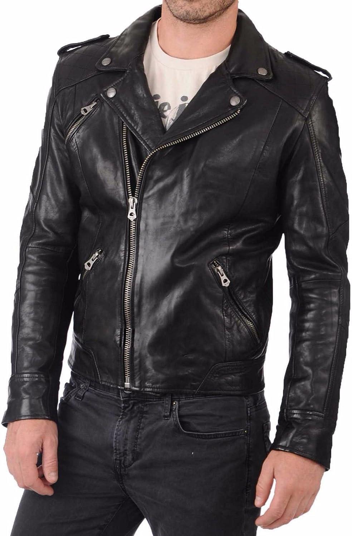 RedSeam Mens Genuine Lambskin Leather Motorcycle Slim Fit Biker Jacket RM006