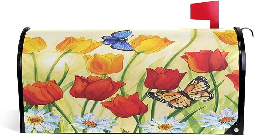 Wamika Golden Retriever Flower Spring Letter Magnetic Mailbox Cover Post Tulip Flower Fields Standard Home Garden Residence Yard Outdoor Decor