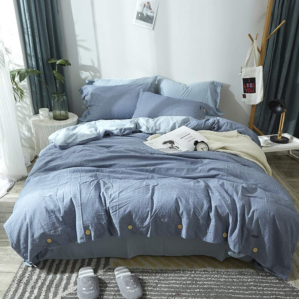 CSYP 4ピース寝具セットコットンコットン綿コットンストライプコットンストライプチェック柄 (Color : Dark blue) B07Q358N3X
