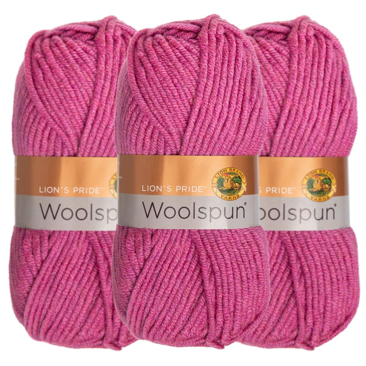 Lion Brand (3 Pack) Woolspun Acrylic & Wool Soft Coffee Brown Yarn for Knitting Crocheting Bulky #5