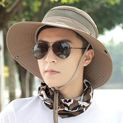 Chapeau extérieur marron clair Hommes été pêcheur chapeau visière protection solaire chapeau de loisirs chapeau de pêche à la mode tendance chapeau (58 * 9 * 9cm)