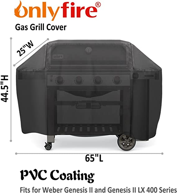 Onlyfire Parrilla Cubierta Funda para Barbacoa (para Weber Genesis II y II LX 400), Transpirable, Resistente Ultravioleta, Impermeable