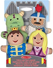 Melissa & Doug Palace Pals Hand Puppets, Puppet Sets (Prince, Princess, Knight, and Dragon, Soft Plush Material, Set of 4)