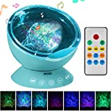 YTOM 7 Color Remote Control Ocean Wave Projector Night Light with Built-in Mini Music Player With 12 LED Beads For Kids Adults Bedroom Living Room (Blue)