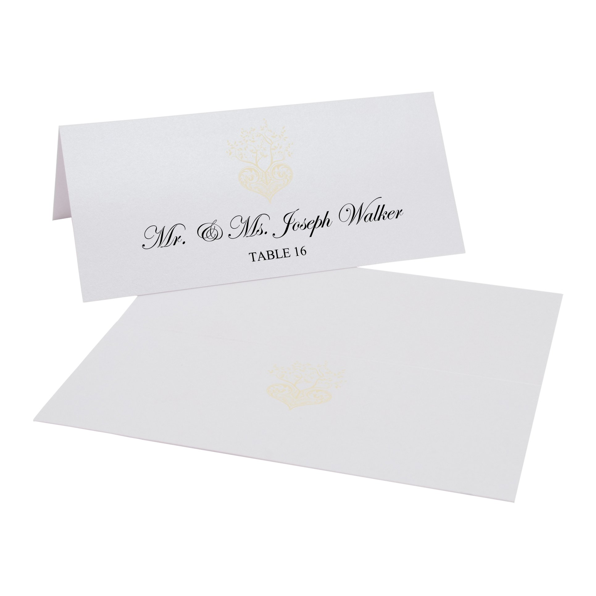 Tree of Life Heart Easy Print Place Cards, Pearl White, Ivory, Set of 425 (107 Sheets) by Documents and Designs