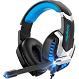 Donerton Gaming Headset, Over-Ear Gaming Headphones with Noise Canceling Mic, Stereo Bass Surround Sound, LED Light, Soft Mem