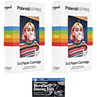 Polaroid Hi-Print 2 x 3 Paper Cartridges - 2 Pack, 40 Sheets - with Microfiber Cleaning Cloth