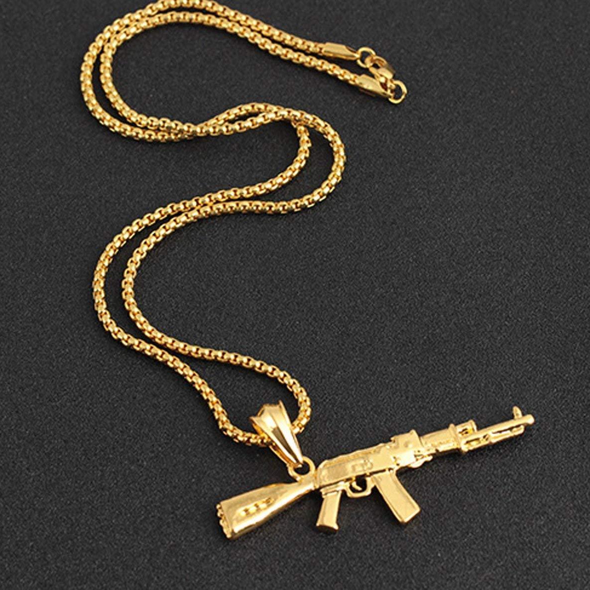 Noradtjcca Collier Pendentif Pistolet Hip hop