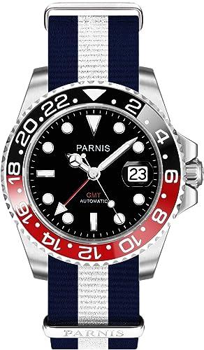 PARNIS 2034 GMT NATO – 05 Hombre de Automático Reloj de MZ de Cristal de Zafiro