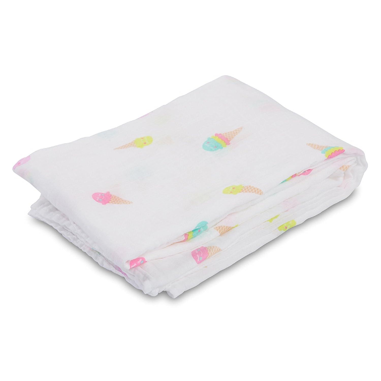 Ice Cream Social lulujo Baby Cotton Muslin Swaddling Blanket 47 x 47 by lulujo Baby