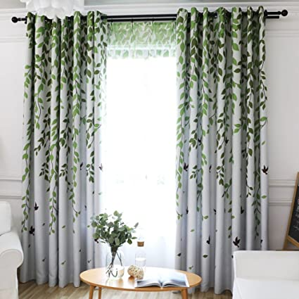 VIVIFabric Grommet Top Print Floral Leaves Pattern Country Style Patio Door  Curtain For Soliding Doors Curtains