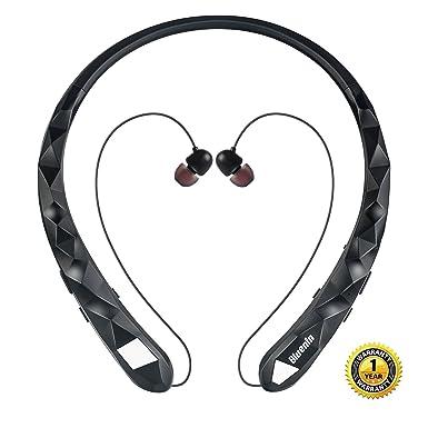 Bluenin - Auriculares inalámbricos con Bluetooth para el cuello, retráctiles, cancelación de ruido,
