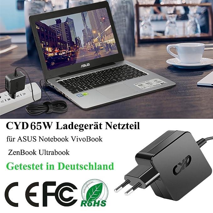 QYD 45W 65W Cargador Adaptador para Ordenador Portatil Asus Vivobook E403SA E402SA E402S Q504UA Q302LA C300MA F556UA K401LB R540S F556U F556UA A401L ...