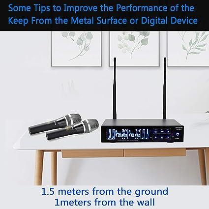 GEARDON Sistema de micrófono inalámbrico dual recargable, 200 canales UHF inalámbrico de larga distancia 250 pies función de silencio para iglesia, ...