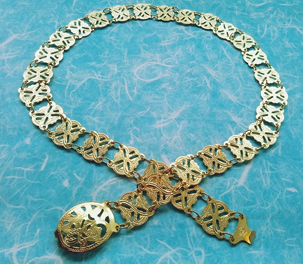 Plus Size Belt Fashion Dress Golden Tone Full Metal One Size Length 50