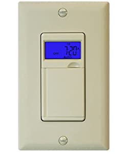Enerlites HET01 7 Days Digital In-WallProgrammable Timer Switch with Blue Backlight, Ivory