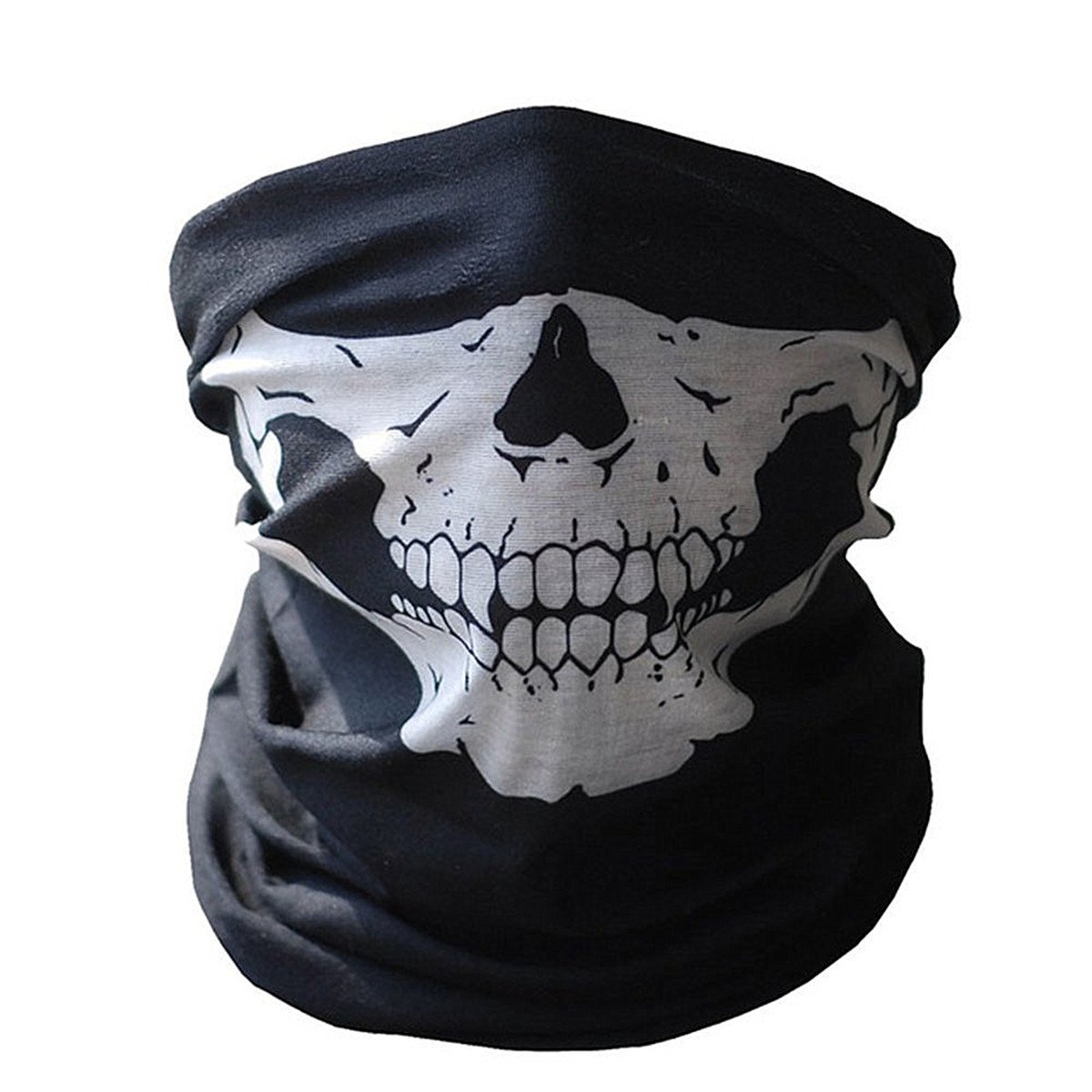 Skull Face Mask, WeiMay Black Half Face Stretchable Windproof Seamless Tubular Mask Bandana Scarf Headband Headwear Neck Warmer for Outdoor Motorcycle Bicycle MotorBike Activities