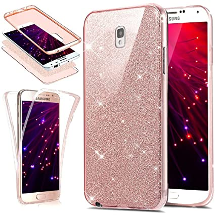 the latest e1234 023a1 PHEZEN Galaxy Note 3 Case,Note 3 Glitter Case, [Front and Back 360  Full-Body Coverage Protective] Bling Glitter Slim Thin TPU Rubber Soft Skin  ...