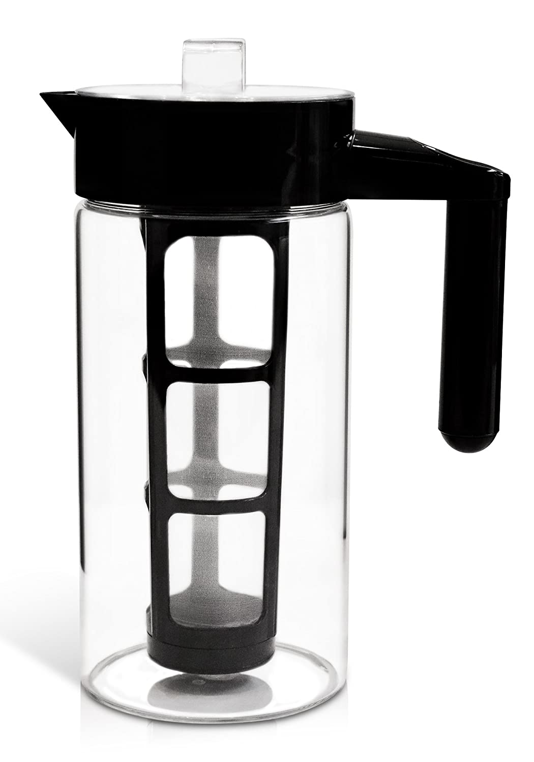 Zell Cold Brew Coffee Maker | Best Home Iced Coffee & Tea Maker with Removable Coffee Fine Mesh Filter | Premium Borosilicate Glass | BONUS Fruit Infusion Filter | 1 Quart (1000 ml)