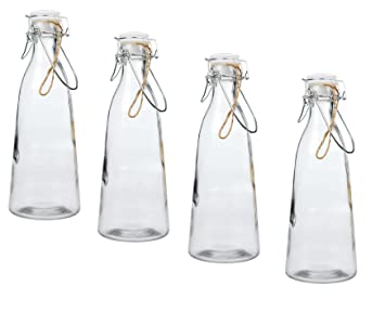 Invero – 4 x Pack de Classic Vintage cocina hermético botella de cristal 1 L con