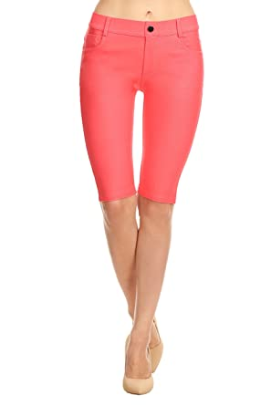 8333209d46a ICONOFLASH Women s Jegging Bermuda Shorts - Pull On Soft Stretchy Cotton  Legging with Plus Size Options