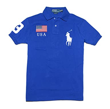 Polo Ralph Lauren Men Custom Fit Flag \u0026 Big Pony Logo Polo T-Shirt -