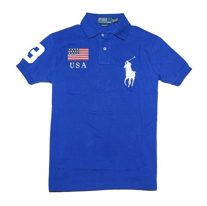 Polo Ralph Lauren Men Custom Fit Flag Big Pony Logo Polo T Shirt