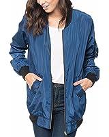 ZANZEA Automne Classique Veste Femme Matelassée Zip Punk Bomber Jacket Long Manteau Vrac Cardigan Blouson