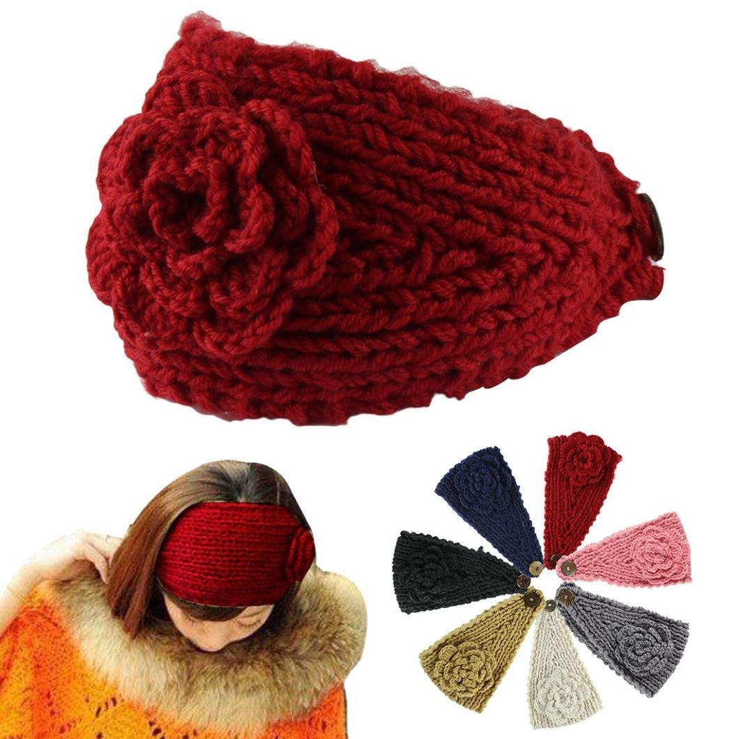 Amazon.com   dzt1968 Beautiful Women Crochet Headband Knit Hairband Flower  Winter Ear Warmer Head wrap 1 pc (Red)   Beauty ffc8ce8836a