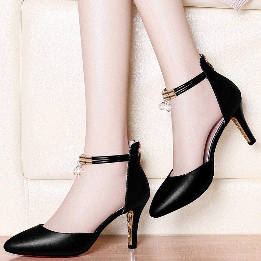 HWF Damenschuhe Fashion Mid Heel spitzen Sandalen weibliche hohen Schuhe mit hohen weibliche Absätzen Damenschuhe ( Farbe   Schwarz  größe   39 ) 188fb1