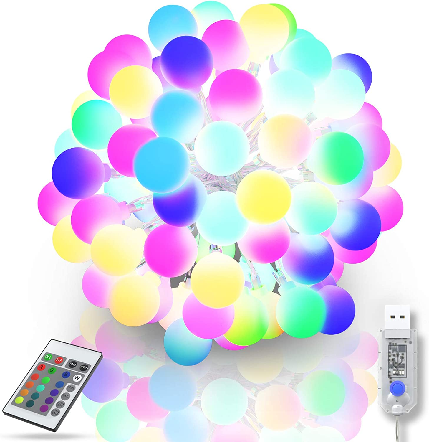 String Lights Indoor Color Changing - RGB 16 Colors 32.8FT 50 LED Globe Balls Light with Remote USB Powered Fairy Lights Hanging Decorative Lighting for Bedroom Wedding Party Dorm Xmas Wall, Outdoor