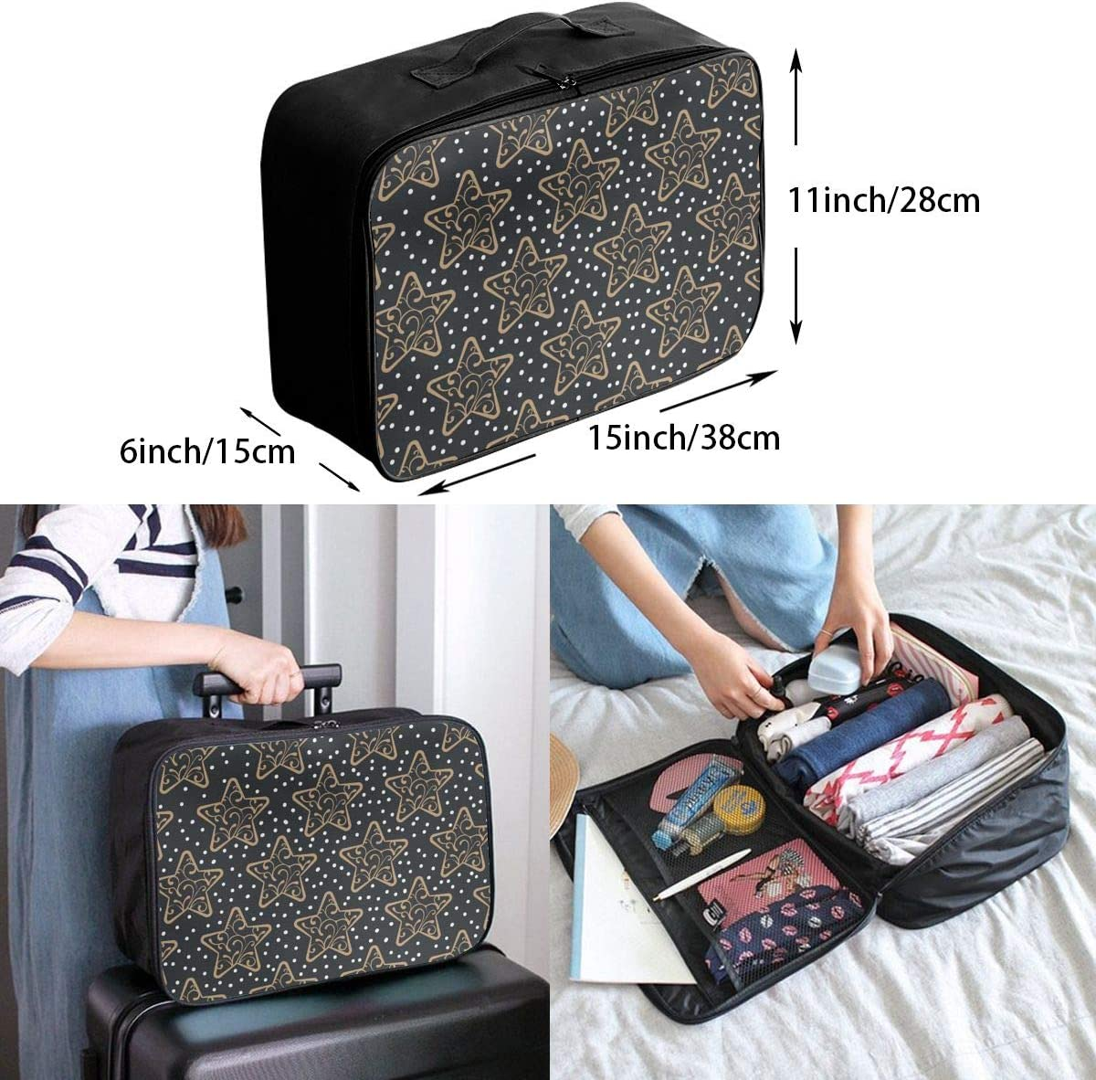 Star Snow Travel Carry-on Luggage Weekender Bag Overnight Tote Flight Duffel In Trolley Handle