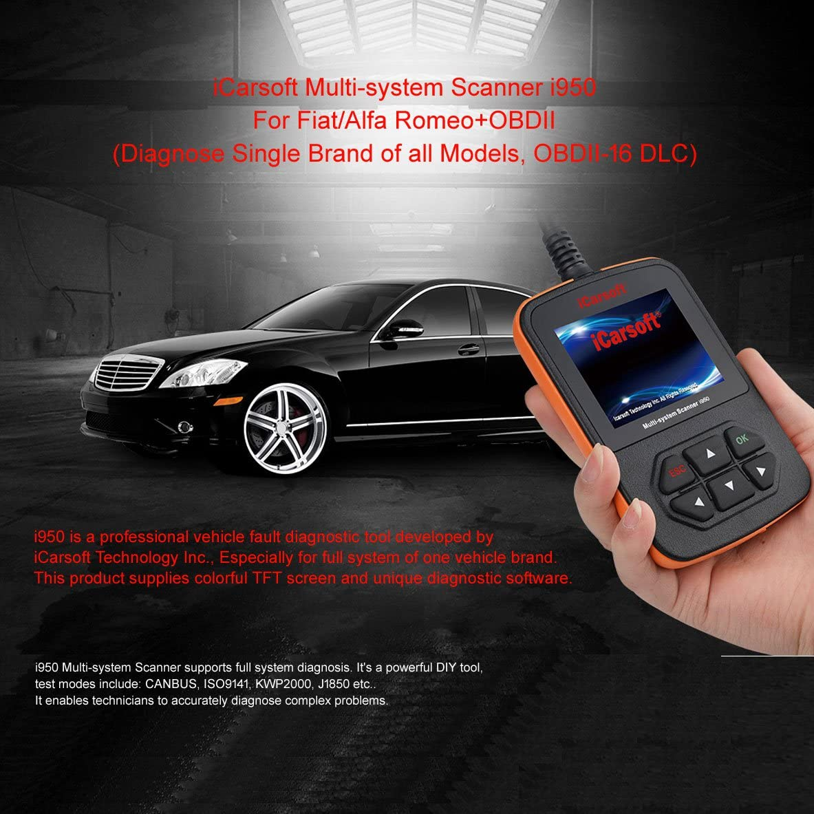 iCarsoft Fiat and ALFA Romeo OBD2 Diagnostic Scanner Tool Erase Fault Codes i950