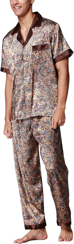 Collar con Bolsillo con Botones Hombre Largos Primavera Verano Impresi/ón Retro Dolamen Pijamas para Hombre Sat/én Hombre Camisones Pijamas de Parejas