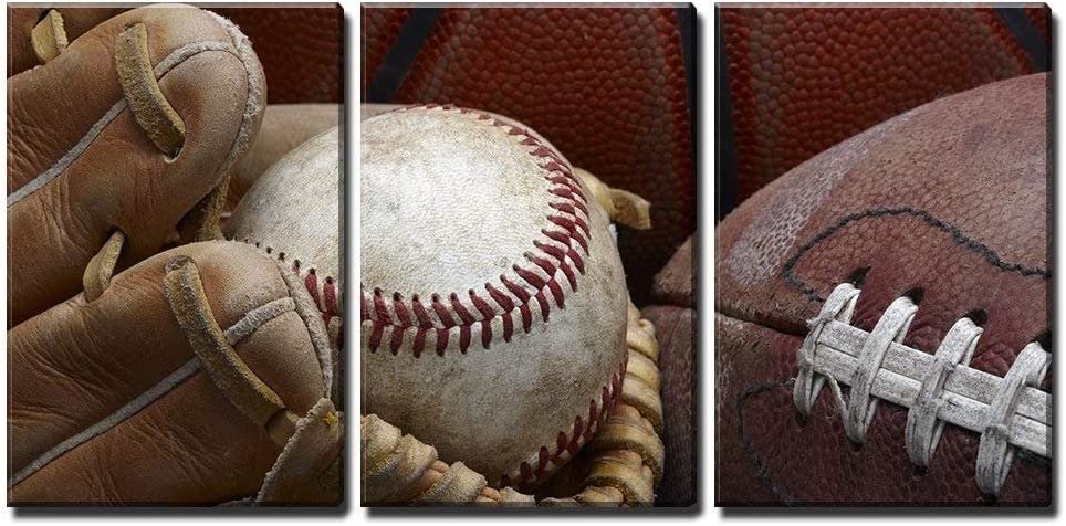 """wall26 - 3 Piece Canvas Wall Art - Close Up Shot of Well Worn Baseball in Baseball Glove, Football and Basketball - Modern Home Art Stretched and Framed Ready to Hang - 16""""x24""""x3 Panels"""
