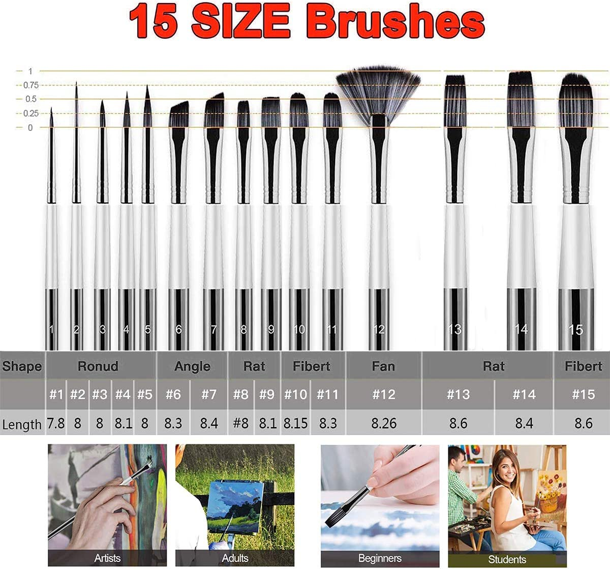 12 Pieces Artist Face and Body Professional Painting Kits with Nylon Tips Watercolor Oil Acrylic Paint Brushes Set