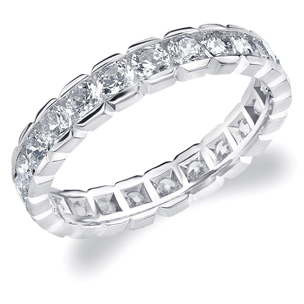 Eternity Wedding Bands 1.50 CTTW Diamond Eternity Ring, 1.5ct Wedding Anniversary Ring in 14K White Gold - Finger Size 9.5