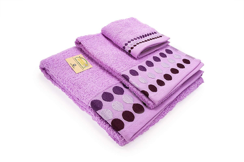 Confort Home M.T (Malva Bolas) Juego de Toallas de baño 3 Piezas (1 Toalla de baño, 1 Toallas de Manos y 1 Toalla Cara) 100% algodón, Calidad 500g, ...